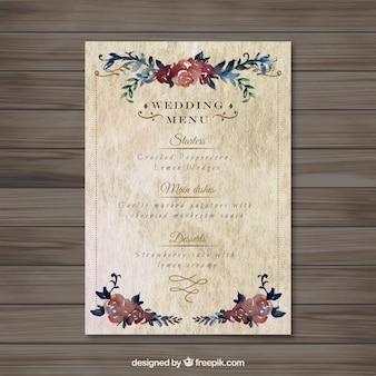 Menu floral do casamento do vintage