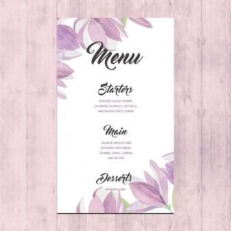 Menu floral do casamento