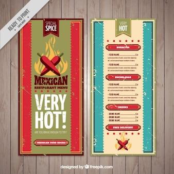 Menu mexicano do grunge com pimentão
