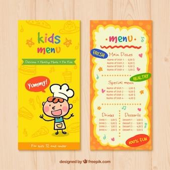 Menu para crianças com desenhos