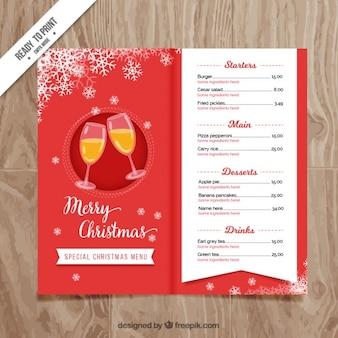 Menu vermelho do Natal com champanhe