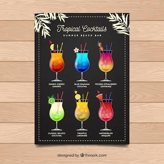 Menu vintage de deliciosos cocktails
