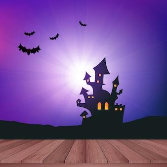 Mesa de madeira com vista para uma paisagem de Halloween