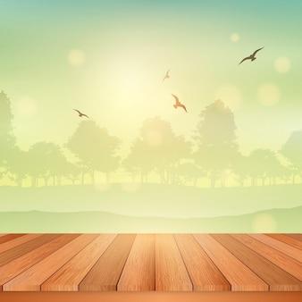 Mesa de madeira com vista para uma vista de uma paisagem ensolarada