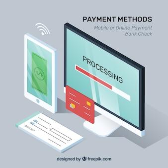 Métodos de pagamento com perspectiva isométrica