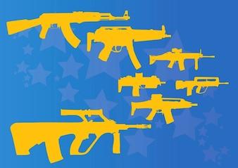 metralhadoras e fuzis