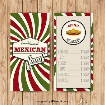 Mexicana menu com as listras verdes e vermelhas