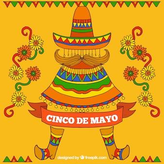 Mexicano, fundo, mão, desenhado, flores