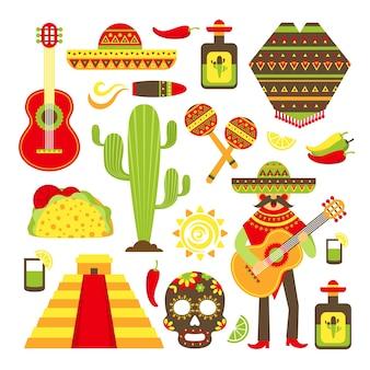 México, viagem, símbolos, decorativo, ícone, jogo, isolado, vetorial, Ilustração