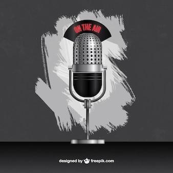 Microfone de rádio no estilo retro
