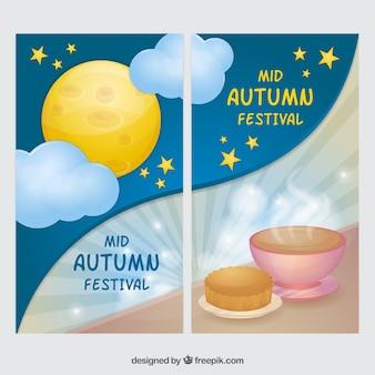 Mid-Autumn Festival celebração banners