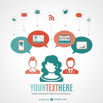 Mídias sociais rede online vetor