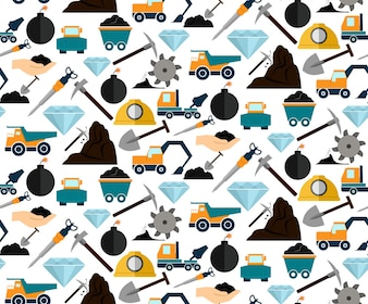 Mineração e escavação mineral equipamentos e maquinhos sem costura padrão ilustração vetorial