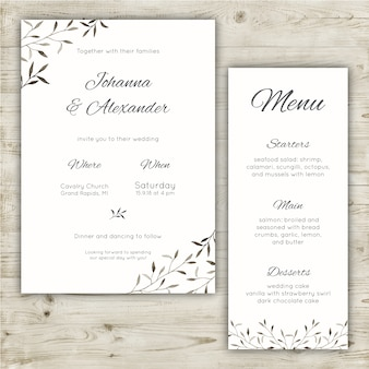 Minimalista casamento papelaria conjunto de um convite e um menu