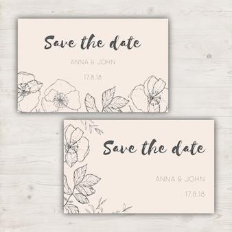 Minimalista salvar os cartões de data para um casamento
