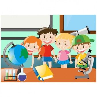 Miúdos em uma classe de escola