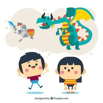 Miúdos engraçados imaginar histórias fantásticas
