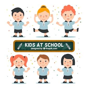 Miúdos no pacote de escola