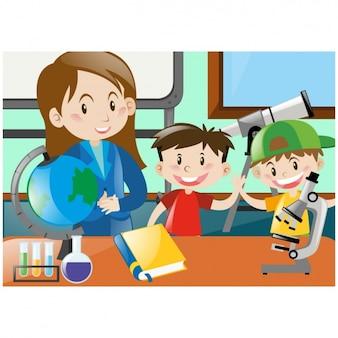 Miúdos que aprendem em sala de aula