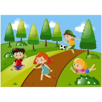 Miúdos que jogam na prado