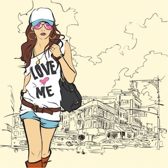 moda ilustração vetorial menina