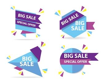 Modelo colorido de banner de venda de compras