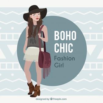 Modelo da menina vestindo roupas de design boho