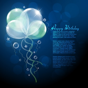 Modelo de aniversário azul com balões