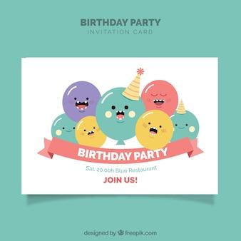 Modelo de aniversário com balões