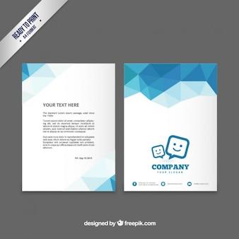 Modelo de brochura com polígono azuis