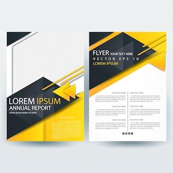 Modelo de brochura de negócios com formas de triângulo preto e amarelo