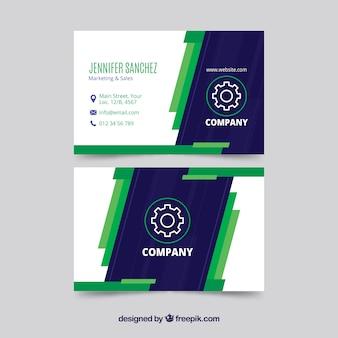 Modelo de cartão de visita azul e verde moderno