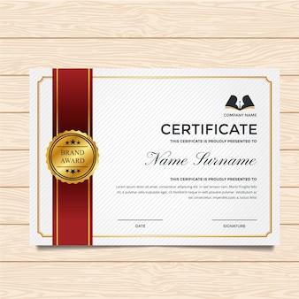 Modelo de certificado branco e vermelho