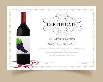 Modelo de certificado com design de vinho