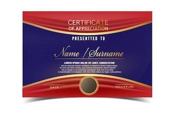 Modelo de certificado criativo para o prêmio de conclusão com formas e emblemas dourados. Limpar e moderno para diplomas, prêmios oficiais ou diferentes. Ilustração vetorial