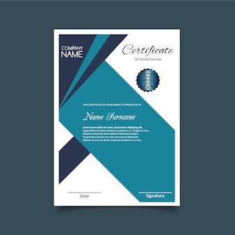 Modelo de certificado de apreciação azul claro