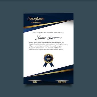 Modelo de certificado de apreciação azul e branco