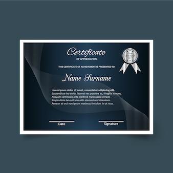 Modelo de certificado de apreciação escuro