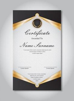 Modelo de certificado de ouro e preto