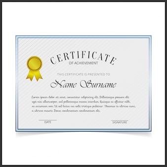 Modelo de certificado vetorial com bordas de design azul