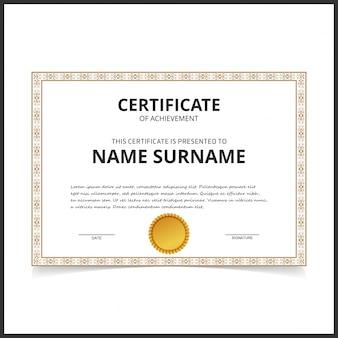 Modelo de certificado vetorial com bordas de design dourado