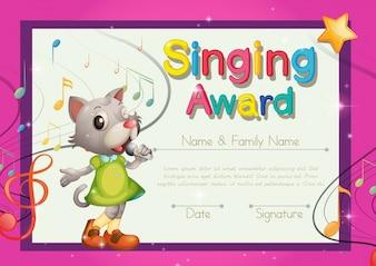Modelo de concessão de canto com cantor de gatinho