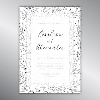 Modelo de convite de casamento com um padrão botânico