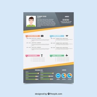 Modelo de currículo moderno com gráficos