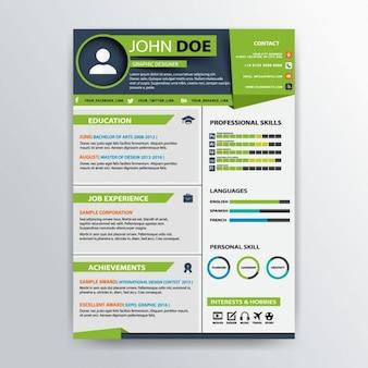 Modelo de currículo profissional verde