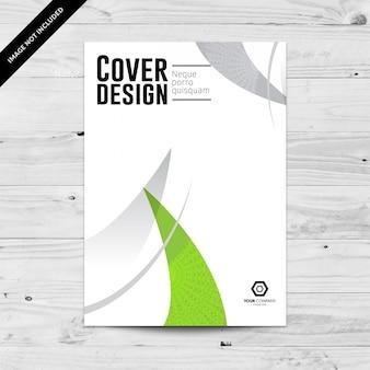 Modelo de design de capa corporativa abstrato verde e cinza
