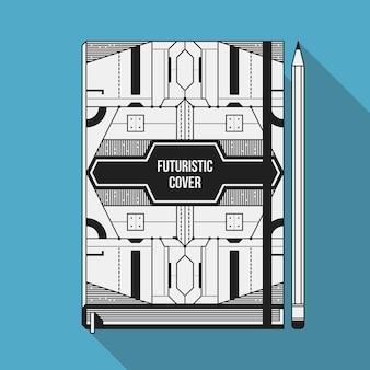 Modelo de design de capa de livro. Mockup do caderno. Elementos geométricos futuristas.