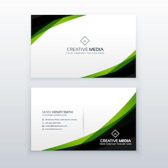 Modelo de design de cartão de visita verde simples e limpo