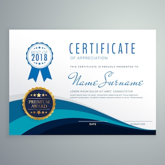 Modelo de design de certificado ondulado azul