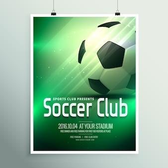 Modelo de design impressionante esportes insecto cartaz com o futebol no fundo verde